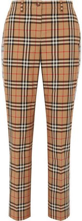 Checked Cotton-twill Straight-leg Pants - Beige