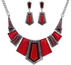 Amazon.com: YAZILIND Red Irregular Bib Collar Earrings Necklace Jewelry Set: Clothing