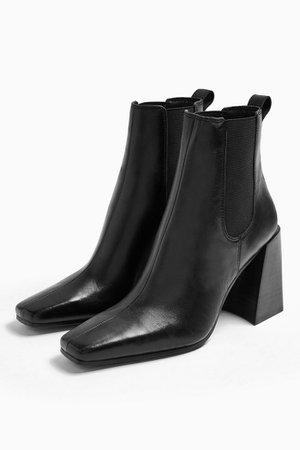 BRONX Black Patent Croc Point Sock Boots | Topshop