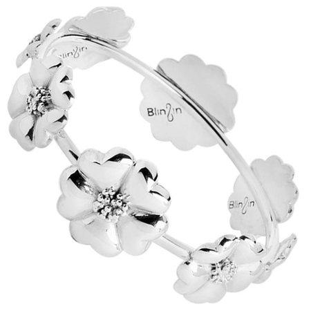 .925 Sterling Silver Blossom Graduated Bangle