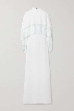 Fringed Layered Crepe Gown - White