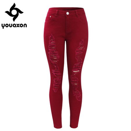 high waisted red ripped jeans