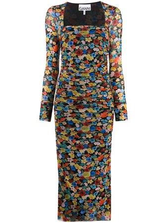 GANNI floral-print Ruched Midi Dress - Farfetch