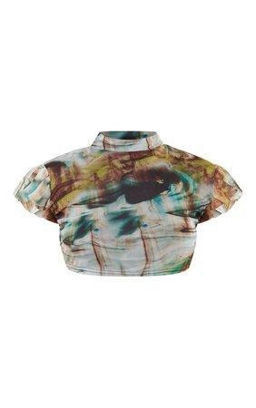 Green Print Mesh High Neck Short Sleeve Crop Top | PrettyLittleThing USA