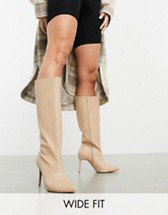 Simmi London Olivia heeled ankle boots with slouch detail in beige | ASOS