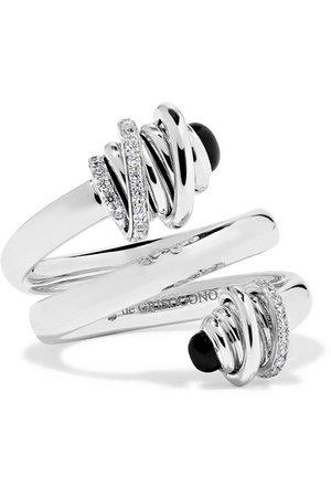 de GRISOGONO | Toi & Moi Ring aus 18 Karat Weißgold mit Diamanten und Onyxen | NET-A-PORTER.COM