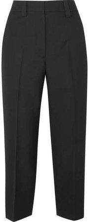 Trea Cropped Wool Straight-leg Pants - Black