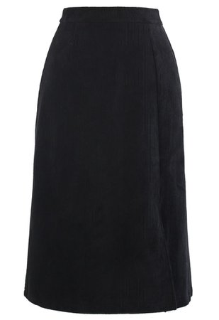 Front Split Corduroy Midi Skirt in Black - Retro, Indie and Unique Fashion
