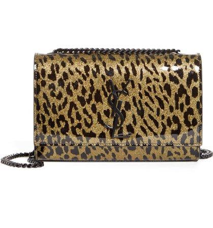 Saint Laurent Kate Glitter Leopard Leather Shoulder Bag | Nordstrom