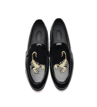 M anxiu New Design Scorpion print men leather shoes Men Business Loafers Shoes Pointed Toe Bright Wedding Flat Shoes-in Formal Shoes from Shoes on AliExpress - 11.11_Double 11_Singles' Day