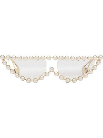 Gucci Eyewear Pearl Embellished Sunglasses 530133I0330 Neutral | Farfetch
