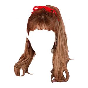 brown hair bangs png half up bow