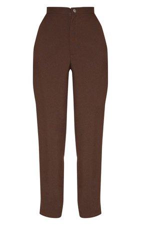 Chocolate High Waisted Slim Leg Pants | PrettyLittleThing USA
