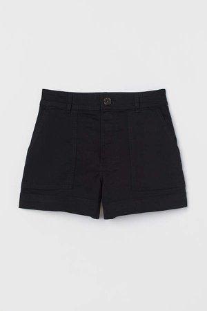 Cotton Twill Shorts - Black