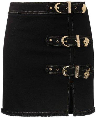 buckled denim mini skirt