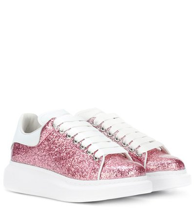 Glitter platform leather sneakers