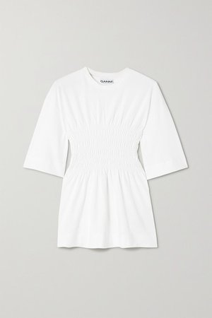 Shirred Organic Cotton-jersey T-shirt - White