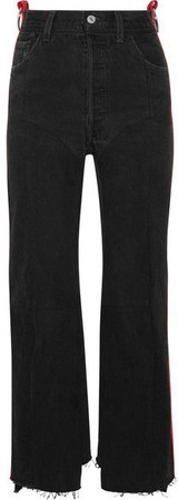 Vetements - Leather-trimmed High-rise Straight-leg Jeans - Black