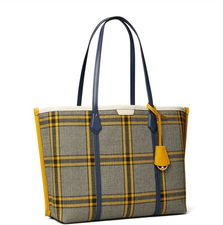 Perry Plaid Triple-Compartment Tote Bag