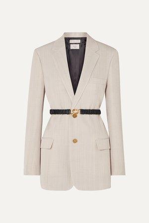 Beige Leather-trimmed woven blazer | Bottega Veneta | NET-A-PORTER