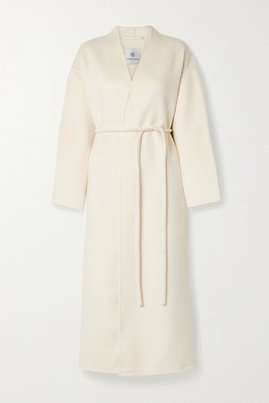 Hunter Belted Wool And Cashmere-blend Coat - Cream