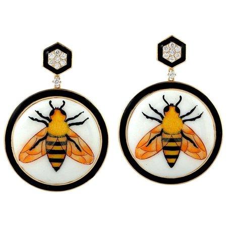 Enamel Hand Painted 18 Karat Gold Bee Diamond Earrings For Sale at 1stDibs