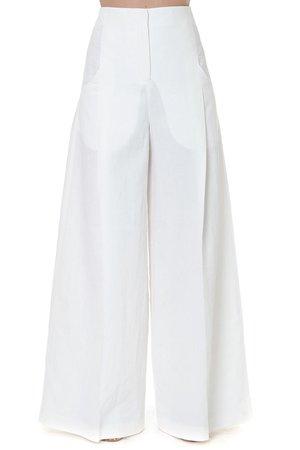 Jacquemus White Linen Palazzo Pants