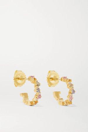 Gold 18-karat gold, sapphire and diamond hoop earrings | Suzanne Kalan | NET-A-PORTER