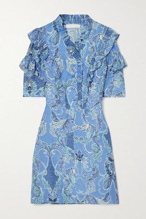 Ruffled Printed Silk Mini Dress - Blue