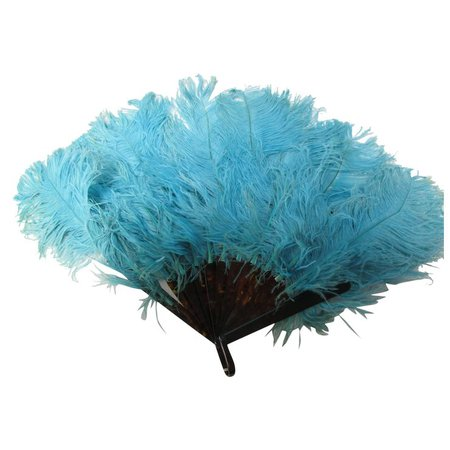 Vintage 1920/30's Blue Ostrich Feather Fan VGC : The Vintage Sewing Box | Ruby Lane