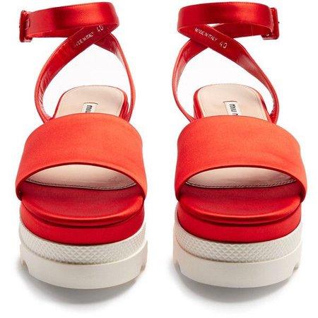 Miu Miu Bi-colour satin flatform sandals