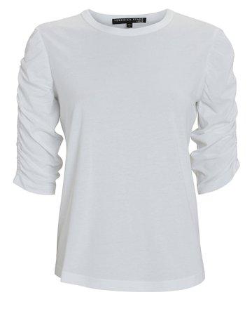 Veronica Beard Waldorf Ruched Cotton T-Shirt | INTERMIX®