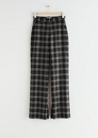 Flared High Waist Trousers - Black Checks - Trousers - & Other Stories
