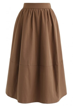 Simple A-Line Midi Skirt in Caramel - NEW ARRIVALS - Retro, Indie and Unique Fashion