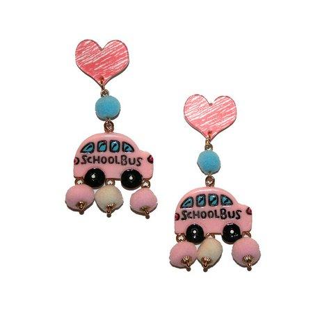 Cute School Bus Earrings Kitschy cute baby pink kawaii | Etsy