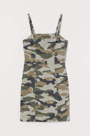 Fitted Cotton Dress - Green