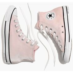 MADEWELL Converse® Chuck Taylor All Star High-Top Sneakers in Velvet (3.890 RUB) ❤ liked on Polyvore featuring shoes, sneakers, pink, arctic pink, velvet high top sneakers, madewell shoes, pink sneakers, rubber sole shoes and hi tops