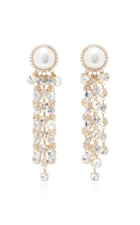 Alessandra Rich Glass Crystal Cascade Earrings