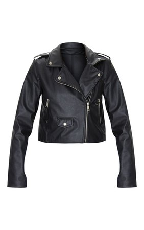 Black PU Biker Jacket With Zips. Coats & Jackets | PrettyLittleThing