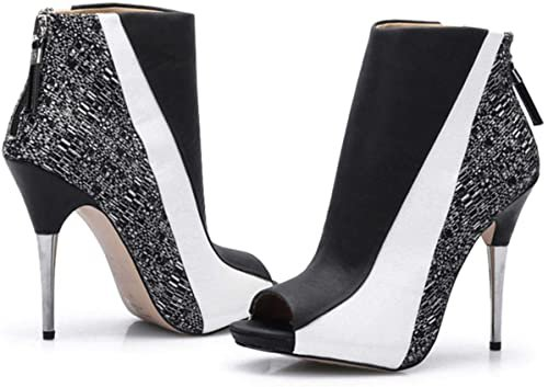 Amazon.com   CAMSSOO Women's Open Toe Stiletto Booties Zipper High Heels Short Boots Heeled Ankle Boots   Ankle & Bootie