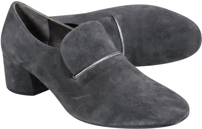 Bluish Gray Suede Loafer Block Heels Sz 9