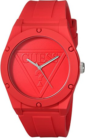GUESS Iconcic Red Retro Pop Logo Stain Resistant Silicone Watch. Color: Red (Model: U0979L3): Watches