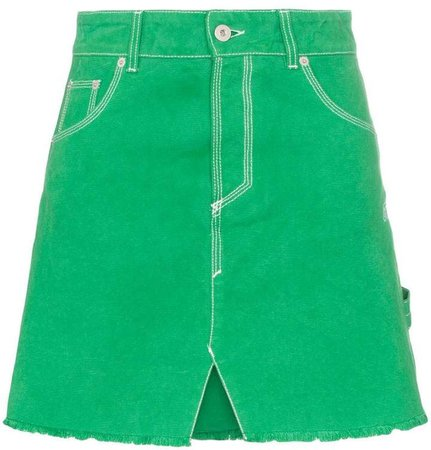 high waisted denim A-line skirt