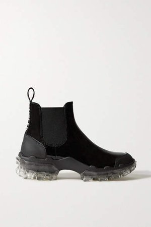 Hanya Patent-leather Chelsea Rain Boots - Black
