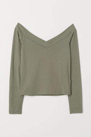 Off-the-shoulder Top - Green