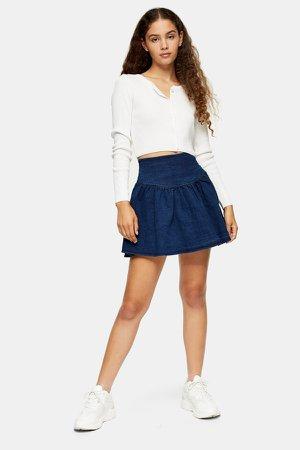 Denim Gathered Mini Skirt