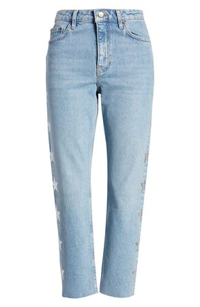 Topshop Bleach Diamante Star Straight Leg Jeans | Nordstrom