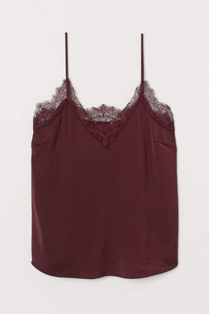 Satin Camisole Top - Red