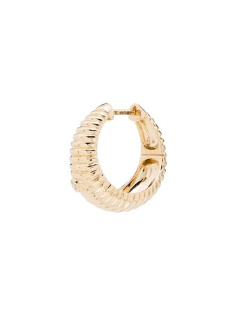 Yvonne Léon, 18Kt Yellow Gold Ridged Diamond Hoop Earrings