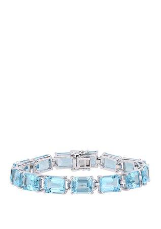 Belk & Co. 59.75 ct. t.w. Emerald-Cut Blue Topaz Tennis Bracelet in Sterling Silver